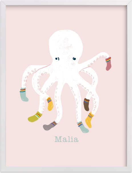 This is a pink personalized art for kid by Celeste Duffy called Socktopus.