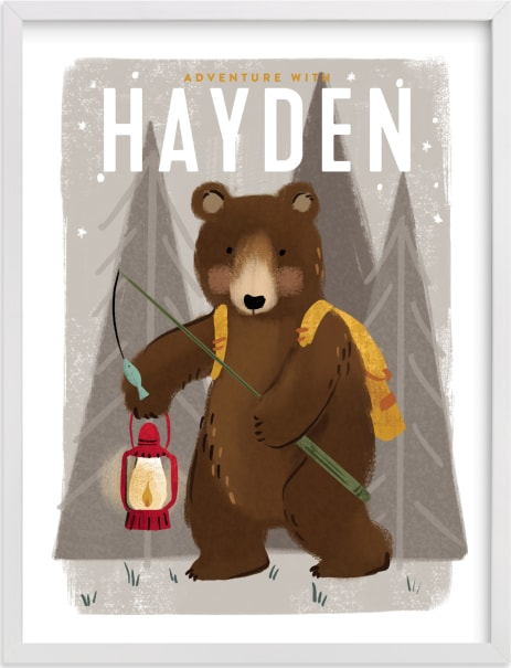 This is a brown personalized art for kid by Rebecca Durflinger called Adventure bear.