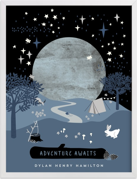 This is a blue personalized art for kid by Corinne Malesic called Adventures in Nature.