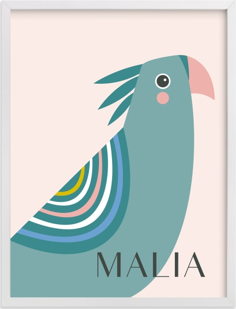 This is a colorful personalized art for kid by Karidy Walker called tropical bird.