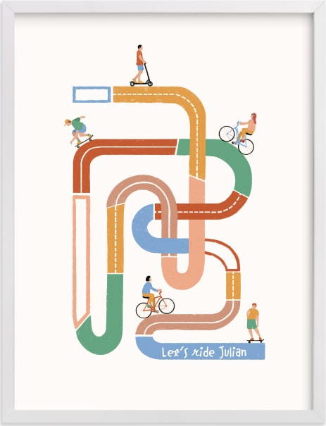 This is a colorful personalized art for kid by Pati Cascino called So many roads to ride.
