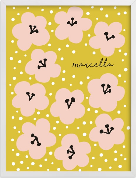 This is a yellow personalized art for kid by Nieves Herranz called Marcella.