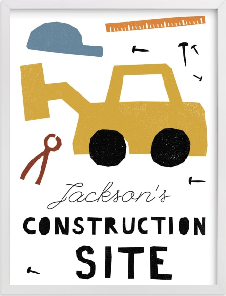 This is a colorful personalized art for kid by Sumak Studio called construction site.