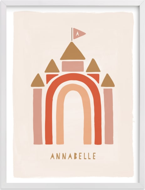 This is a pink personalized art for kid by JeAnna Casper called Rainbow Castle.