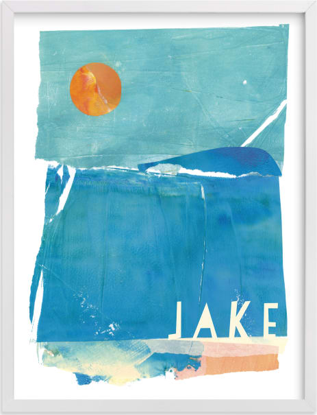 This is a blue personalized art for kid by sue prue called Night Swim.