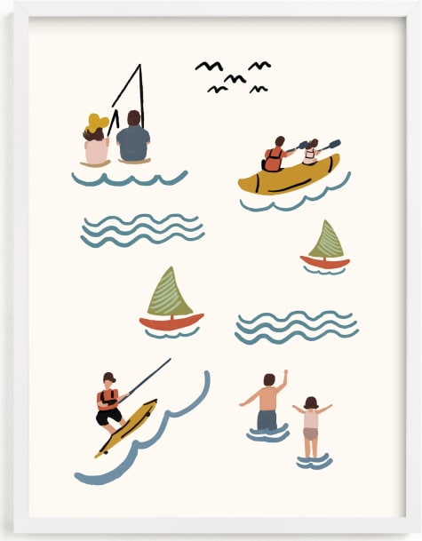 This is a ivory kids wall art by Lea Velasquez called Fun at the Lake.