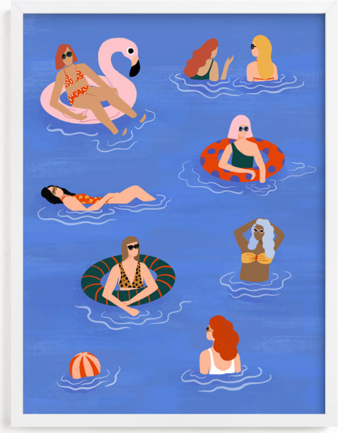 This is a blue kids wall art by Pati Cascino called Pool Party.