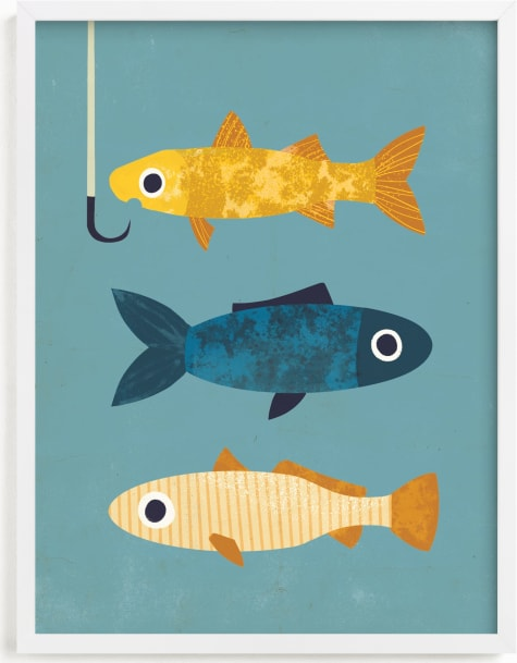 This is a blue kids wall art by Laura Mitchell called 1 Fish, 2 Fish, 3 Fish.