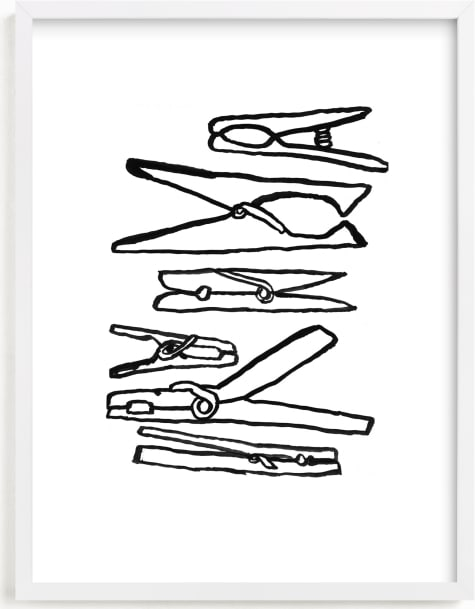 This is a black and white kids wall art by Elliot Stokes called Clothespins 2.