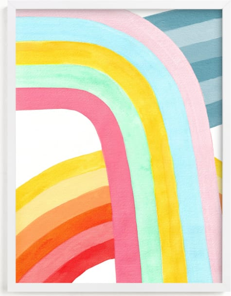 This is a blue kids wall art by Celeste Duffy called Happy Rainbows.