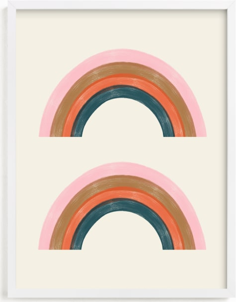 This is a pink kids wall art by EMANUELA CARRATONI called Double Vintage Rainbow.