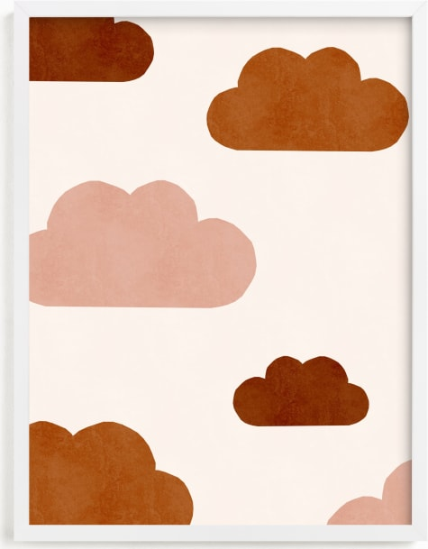 This is a brown kids wall art by Iveta Angelova called Paper Clouds.