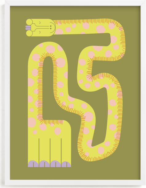 This is a pink kids wall art by Ampersand Design Studio called Twisty Giraffe.