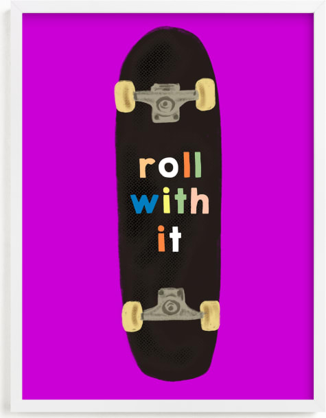 This is a purple kids wall art by Baumbirdy called roll with it.