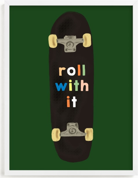This is a green kids wall art by Baumbirdy called roll with it.