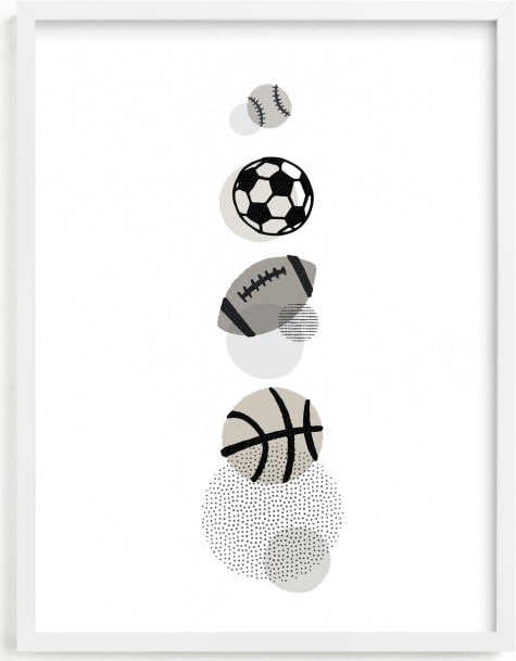 This is a brown kids wall art by Jessie Steury called Pop Art Sports.
