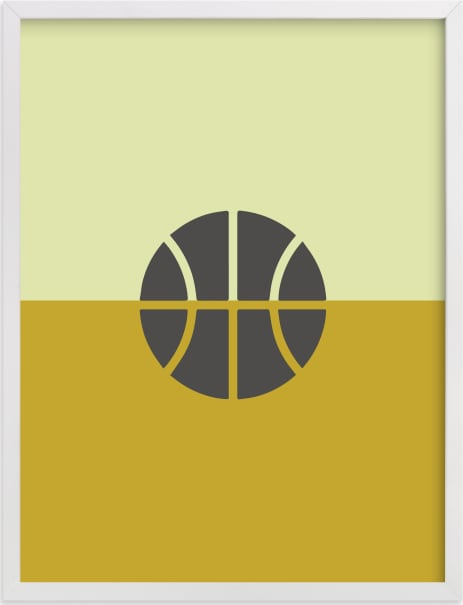This is a brown kids wall art by pacifica project called 3 Season Sport | Basketball.