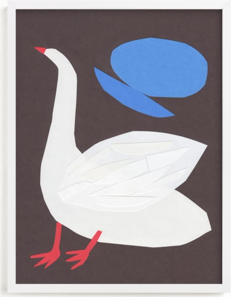 This is a blue kids wall art by Elliot Stokes called Goose.
