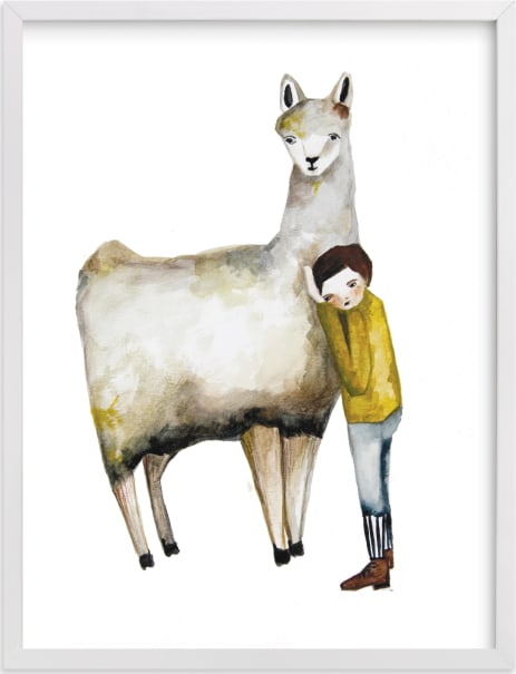 This is a white kids wall art by Sarah Fitzgerald called LLama and Boy.