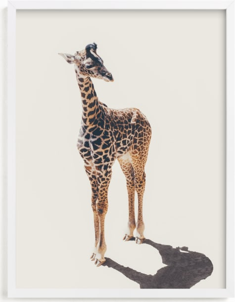 This is a brown kids wall art by Kamala Nahas called Baby Giraffe.