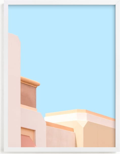This is a colorful kids wall art by Lisa Sundin called Pastel Desert Archiecture.