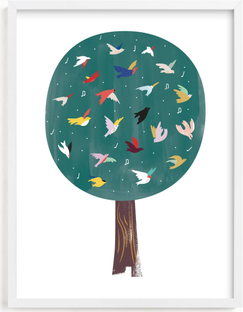 This is a brown kids wall art by Eve Schultz called Lots of Songbirds.