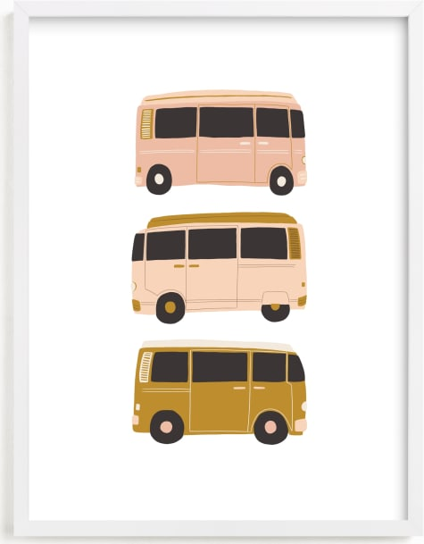 This is a brown kids wall art by Alicia Schultz called Vintage Van Crew.