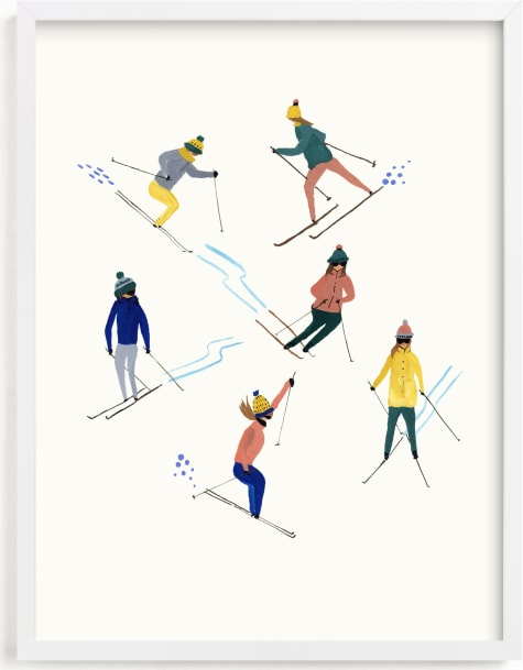 This is a blue kids wall art by Anee Shah called Ski people.