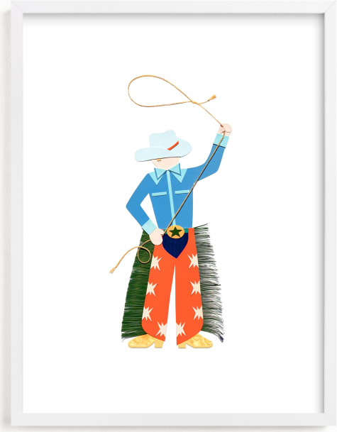 This is a blue kids wall art by Kelsey Livingston called Cowboy Carl.