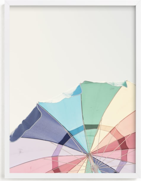 This is a blue kids wall art by Caroline Mint called Rainbow Summer.
