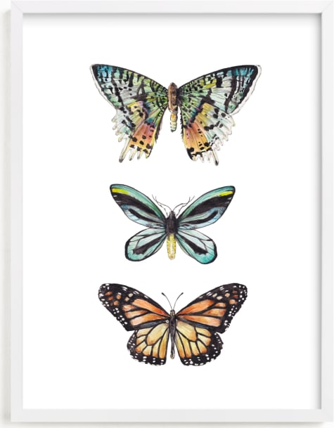 This is a colorful kids wall art by Lauren Rogoff called Butterfly Colorful Watercolors.