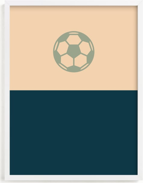 This is a blue kids wall art by pacifica project called 3 Season Sport | Soccer.
