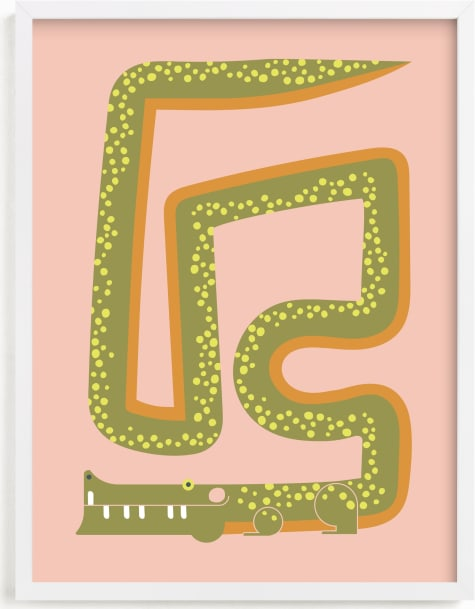 This is a pink kids wall art by Ampersand Design Studio called Twisty Alligator.