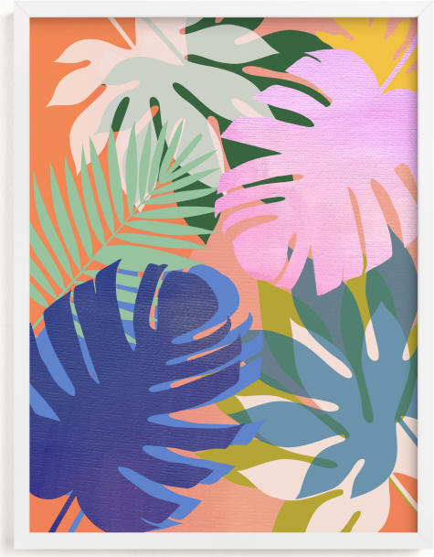This is a colorful kids wall art by AlisonJerry called tropical forest.