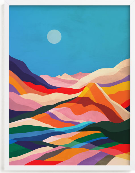 This is a blue kids wall art by Mojca Dolinar called Rainbow fields.