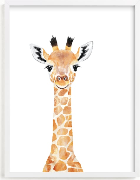 This is a beige art by Cass Loh called Baby Giraffe 2.