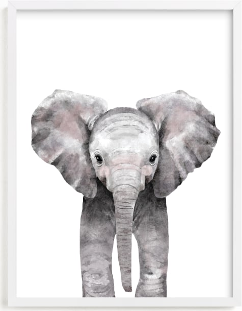This is a grey art by Cass Loh called Baby Animal Elephant.