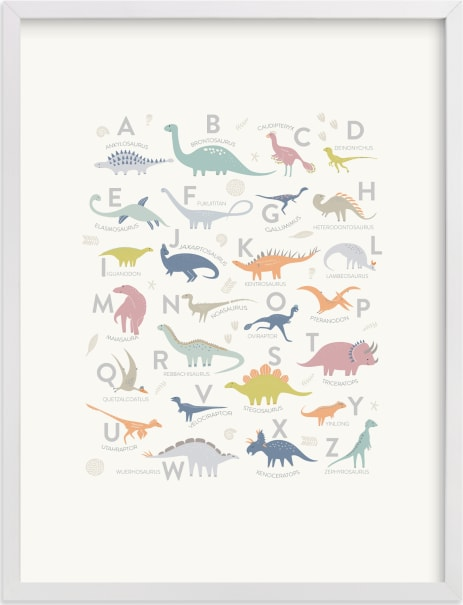 This is a colorful art by Teju Reval called Alphabet Dinos.
