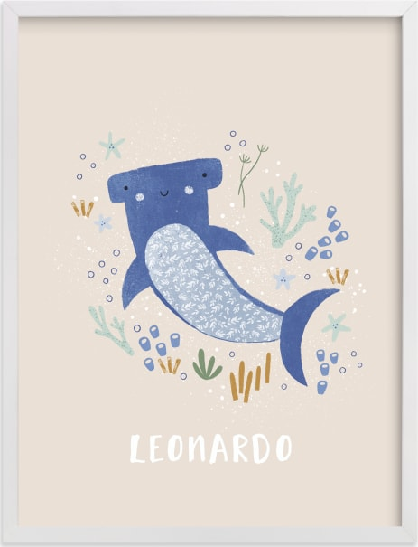 This is a blue nursery wall art by Tati Abaurre called Sharky cute.