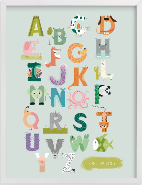 This is a colorful nursery wall art by Char-Lynn Griffiths called Alphabet farm.