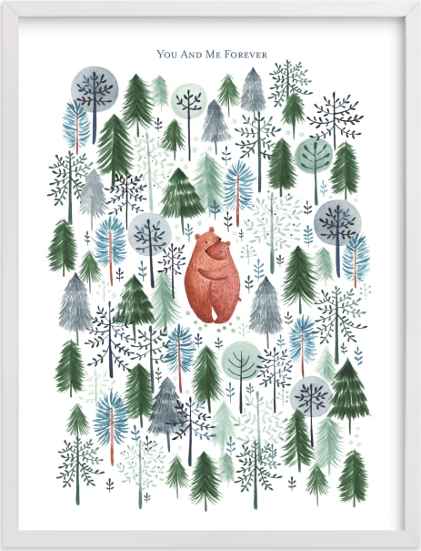 This is a blue nursery wall art by Sarah Knight called Never Alone.