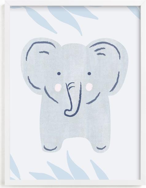 This is a blue nursery wall art by Carolyn MacLaren called Elephant Portrait.