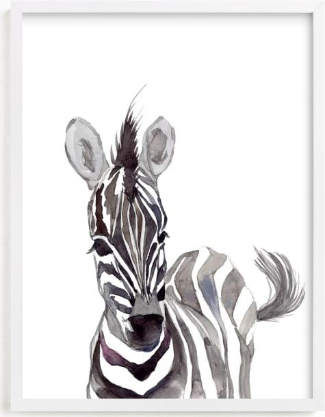 This is a white nursery wall art by Jieun K Rasband called Baby Animal Friends: Zebra.
