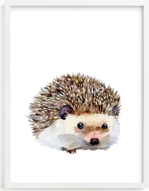 This is a brown nursery wall art by Jieun K Rasband called Baby Hedgehog.