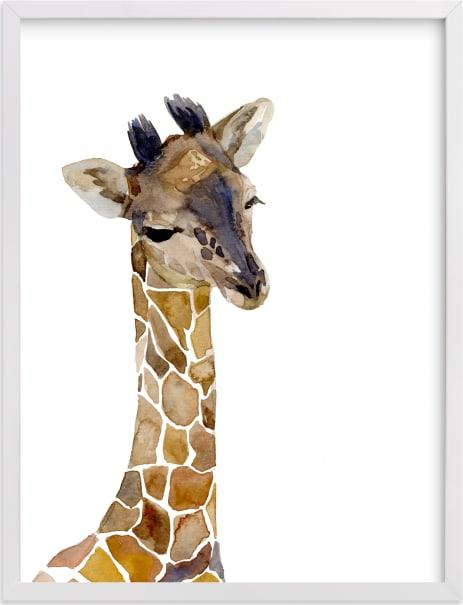 This is a brown nursery wall art by Jieun K Rasband called Baby Animal Friends: Giraffe.