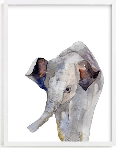 This is a grey nursery wall art by Jieun K Rasband called Baby Animal Friends: Elephant.