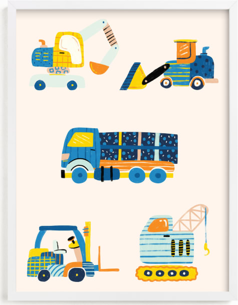 This is a blue nursery wall art by kartika paramita called The Truck Gang.
