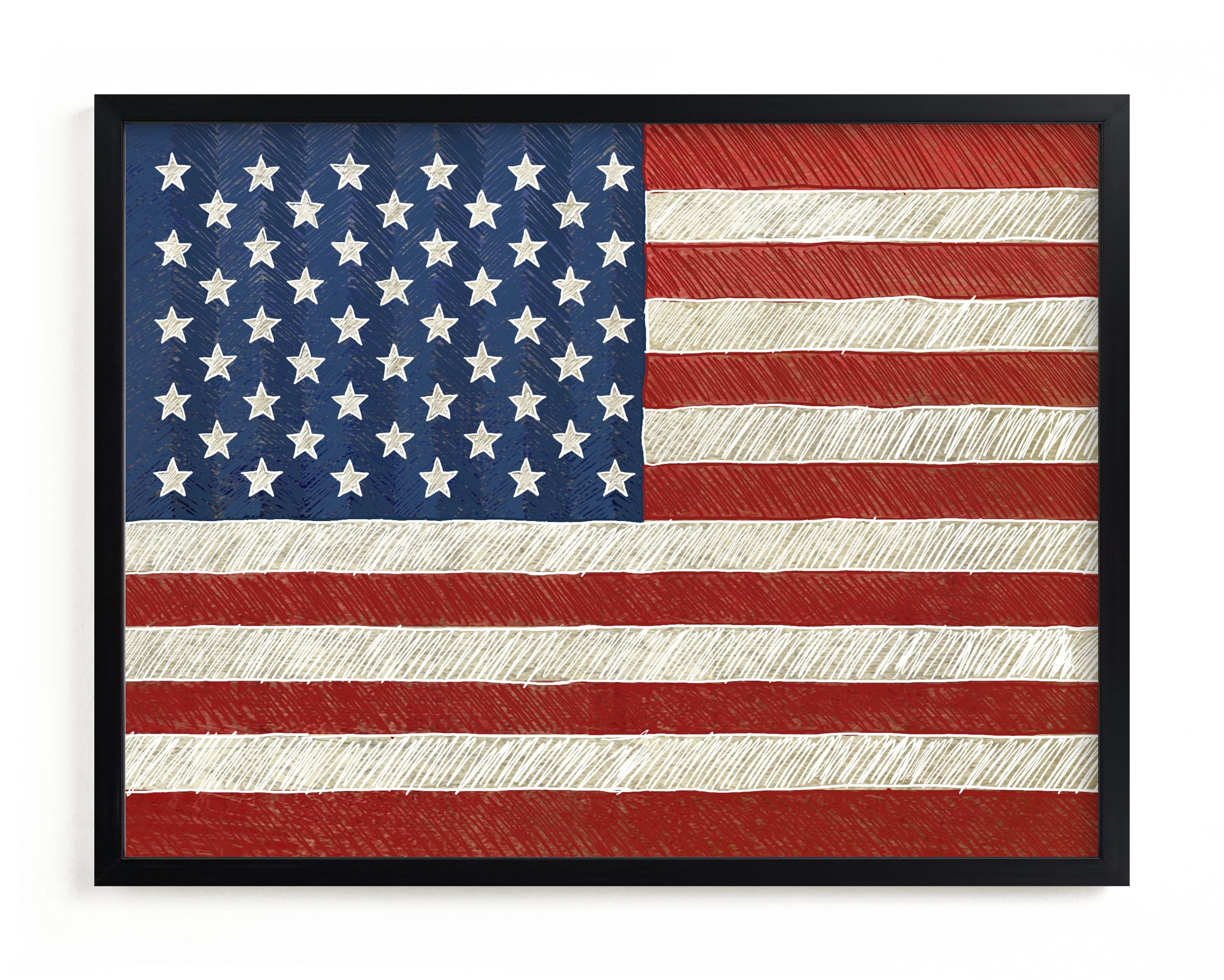 """""""Rustic American Flag"""" - Limited Edition Art Print by Amy Marsh in beautiful frame options and a variety of sizes."""