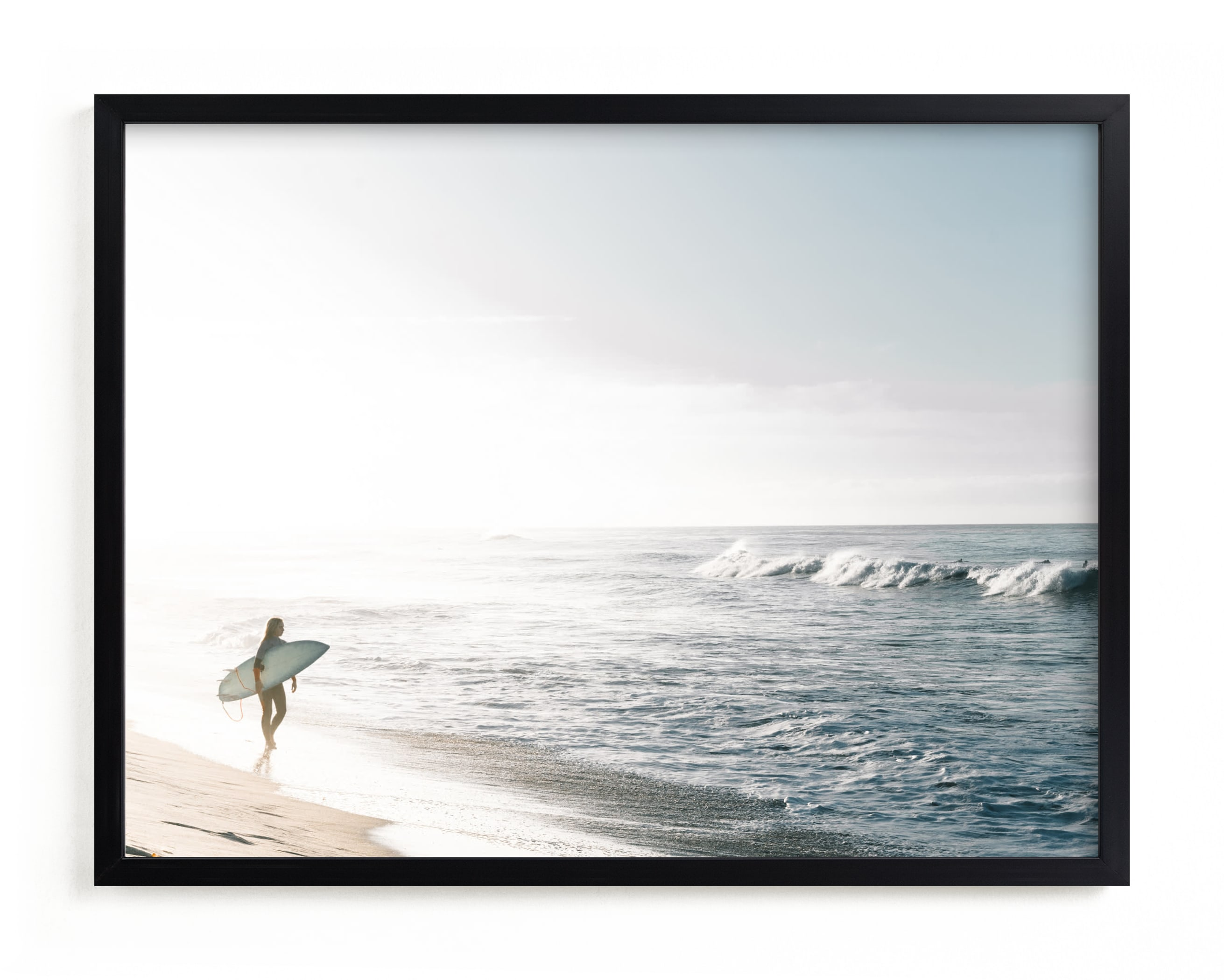 """""""Surfer Girl"""" - Grownup Open Edition Non-custom Art Print by Kamala Nahas in beautiful frame options and a variety of sizes."""