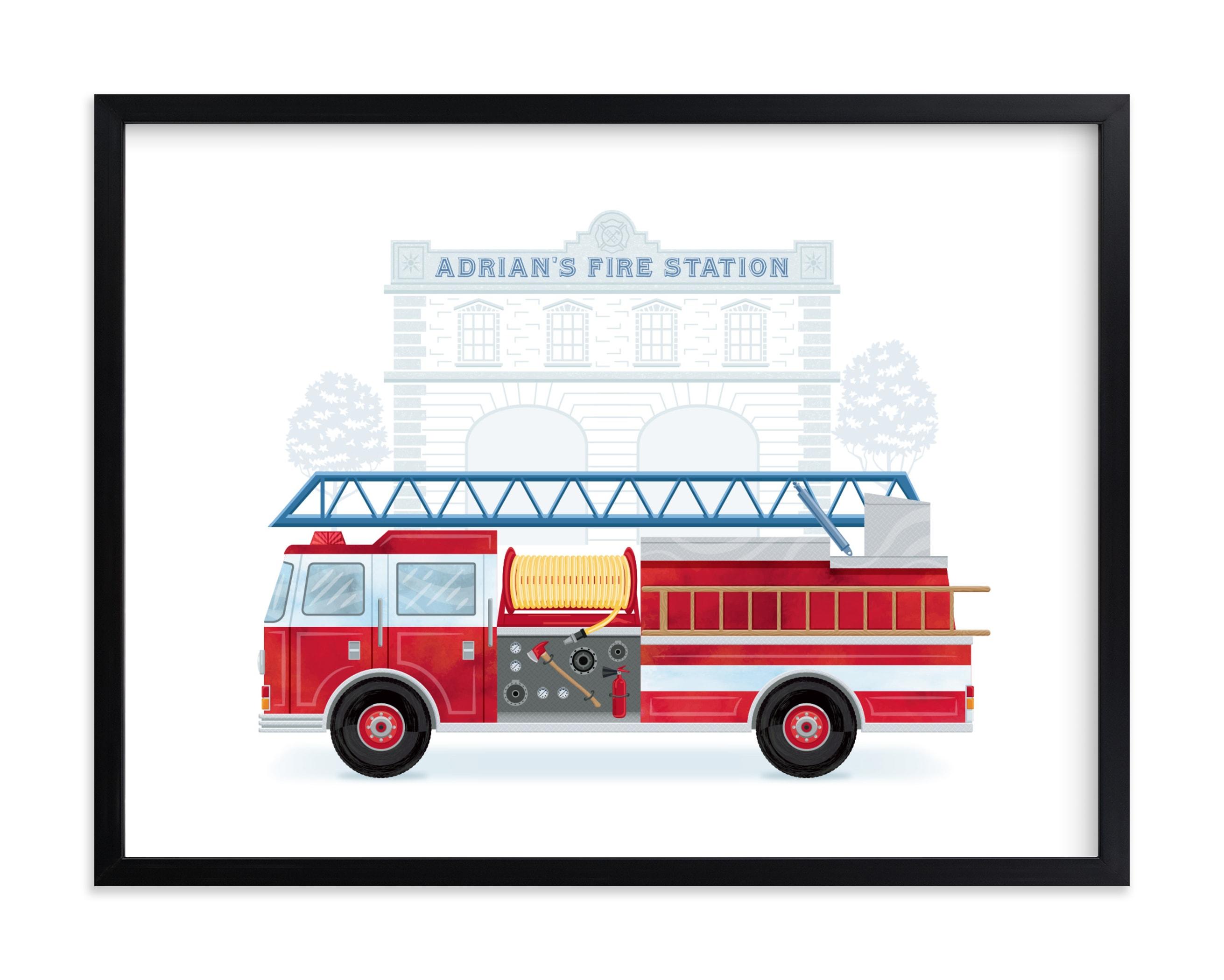 Fire Engine to the Rescue Children's Custom Art Print